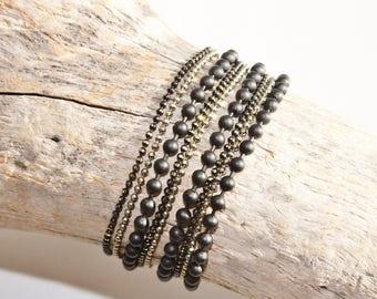"Tribal ethnic bracelet ""Anangu"" black & grey"