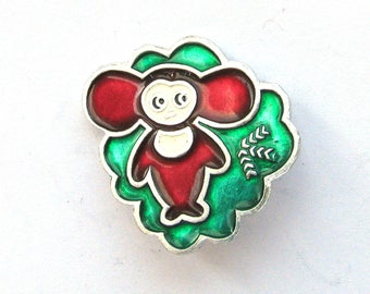 Cheburashka, Character from soviet cartoon, Vintage collectible badge, Soviet Vintage Pin, Vintage Badge, Made in USSR, 1980s