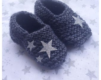 Slippers charcoal wool with its little stars baby entirely handmade