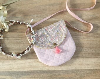 Kids Messenger bag in Liberty Katie and Millie Nude