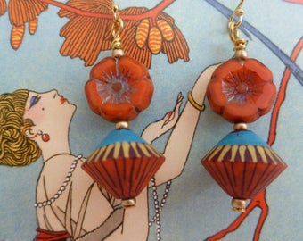 Moroccan Garden Earrings, Flower Earrings, Saffron and Teal, gracefulwillowbeads, Northernblooms