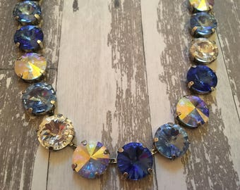 Brilliant Blue 12mm Swarovski Necklace