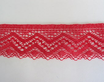 Cotton sheer lace red height 4.5 cm same as front/back