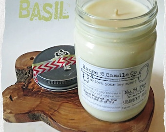 Strawberry Basil hand poured soy beeswax candle scent No. 94 The California Bungalow | organic fragrance infused essential oils, mason jar