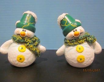 Ceramic Snowman Pair