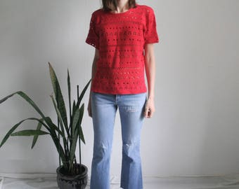 Vintage red crocheted top