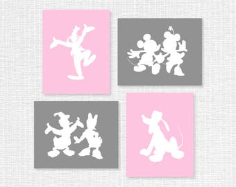 Pink and Gray Disney silhouette Prints Set of 4, 8x10, Donald Duck and Daisy, Mickey Mouse and Minnie Mouse, Goofy, Pluto, INSTANT DOWNLOAD