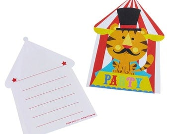 "Set of 8 invitations with envelopes ""Circus Party"""