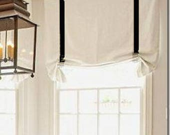 """Custom order:Relaxed Roman Shade """"White with black trim"""", linen roman shade, with chain mechanism, custom made"""