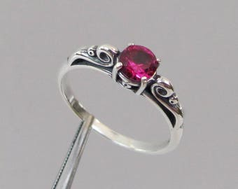 Ruby Ring, Sterling Silver, Scroll Ring, July Birthstone Ring, Ruby Solitaire, Lab Grown, 5mm Ruby Gemstone, Birthstone Ring, Ruby Jewelry