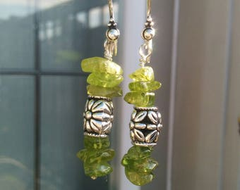 Antique Silver Earrings With Green Peridot