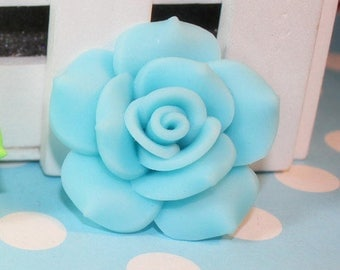 2pc Large Light Blue Flower Rose Cabochon Clay Bead