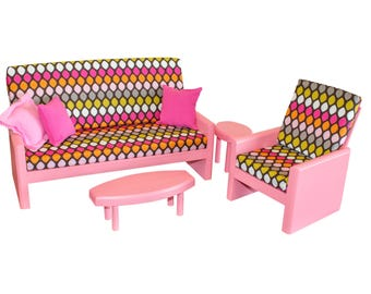 """Pink living room, AG doll furniture, 18 in doll furniture, 18"""" living room, 18"""" doll couch, AG living room, doll chair, doll tables"""