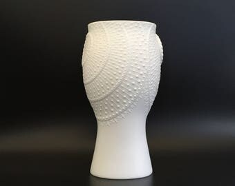 "AK Kaiser 603   white bisque porcelain design Mid Century Modern   unusual  ,,Sun decor"" 1960s   relief vase Germany."