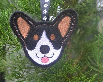 Personalized Tri Corgi Face Ornament