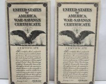 Original United States of America Unused War-Savings Certificates Series of 1918