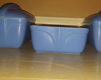 Hall Westinghouse Vintage Refrigerator Dish Set ,Delphinum Blue. Set of 3.