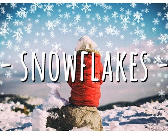 35 Snowflake Photoshop Overlays PNG: Hand drawn Winter Wonderland Photo layer, Falling Cartoon Snowflakes for Christmas and New Year