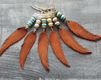Brown feather earrings. Leather feather earrings. Gemstone beaded earrings. Long drop earrings. Boho earrings. Bohemian earrings. Boho chic.