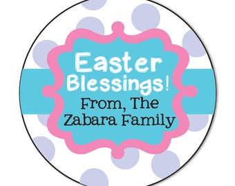 Easter sticker personalized east gift tag spring stickers happy easter stickers personalized easter gift favor tags easter blessing easter basket stickers negle Choice Image