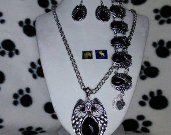 Owl Pendant, Black & SilverNecklace, Bracelet and Earring Set