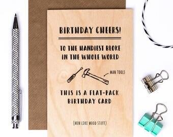 Wooden Birthday Card For Men; Keepsake Desk Card; Card For Dad; Card For Husband; Male Card; Funny Man Card; GC630