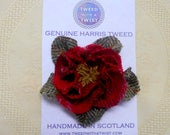 Harris Tweed Brooch deep red corsage shabby rose pin,  womens gift for her Valentines gift mothers day or birthday present made in Scotland