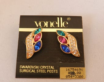 """Vintage NOS Vonelle Gold tone Swarovski Crystal Surgical Steel Post Earrings - 1"""" - Clear, Blue, Pink, Green - Retro"""