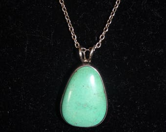 Vintage Native American Turquoise and Sterling Silver Pendant Necklace - FREE SHIPPING