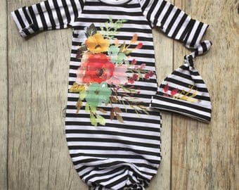 Baby girl knot gown, watercolor floral, black white stripes, baby shower gift, going home outfit, chic baby girl gown