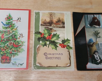 3 Vintage Christmas Post Cards-1900's-Retro Post cards-Scrapbook supply-Junk journal supply-Christmas decor-Christmas gift-Antique cards #6