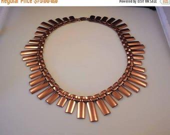 20% OFF SALE Vintage Renoir Peter Pan Copper Modernist Collar Choker Necklace