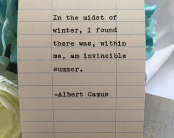 Albert Camus Quote- Hand Typed on Library Due Date Card