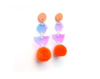 PomPom Drop Earrings - Rainbow Iridescent Earrings - Pastel Earrings - Pom Pom Earrings
