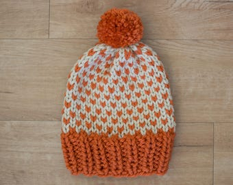 Fair Isle Orange & Cream Knit Winter Hat