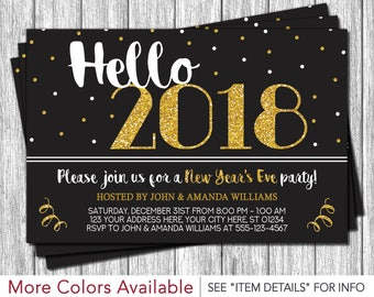 New Years Eve Invitation | New Years Eve Party | Hello 2018 Invitation
