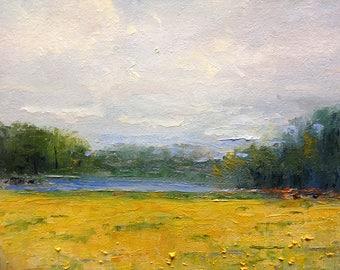 Mustard Field, Plein Air Art Painting,  Farm painting, Rustic, Midwestern Scene