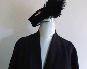50s Black Hat with Veil and Feathers by New York Creations Size 22