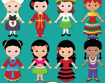 Girl children of the World clipart