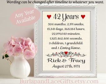 42, 42nd, 42nd Anniversary, 42 Years Together, Years, Months, Weeks, Days, Gift to Wife, Linen Print, Gift to Husband, Cotton (ana207-42)