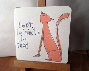 Card 'Cat' handmade 15cm x 15cm