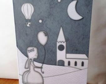 """Greeting card ' little girl paper """"handmade 21cm x 15cm"""