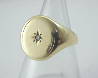 9ct yellow gold signet ring with diamond 6.3g size J 1963