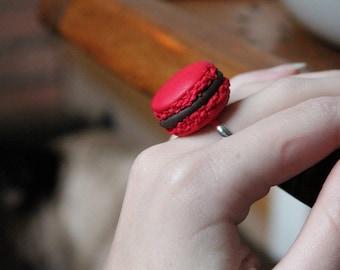 Polymer clay chocolate Strawberry macaron ring
