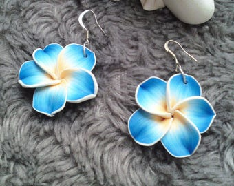Earrings turquoise color plumeria flowers your choice