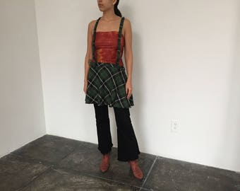 Vintage 1990s Grunge Green Plaid Skirt with Suspenders and Exposed Zipper