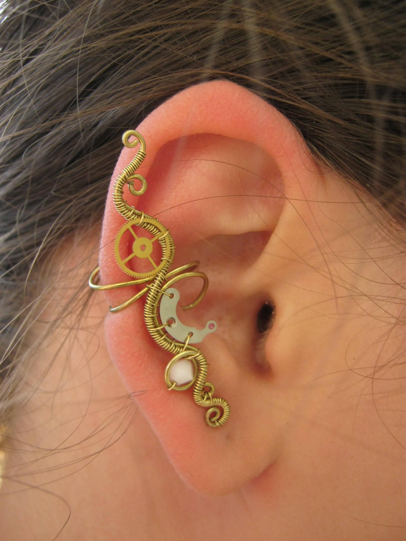Wonderful wire wrapped ear cuffs ideas electrical system block steampunk ear cuff steampunk jewelry wire wrapped ear cuff wire baditri Choice Image