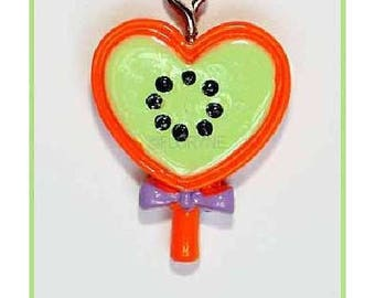 Heart lollipop charm Orange and green resin