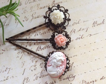 Victorian White Rose And Pink Cameo Floral Hair Clips