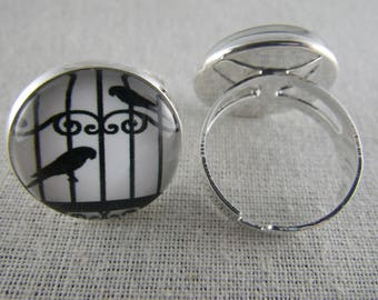 Bague064 - Ring silver, black and white bird cage
